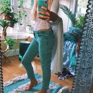 Denim - green stone washed denim pants